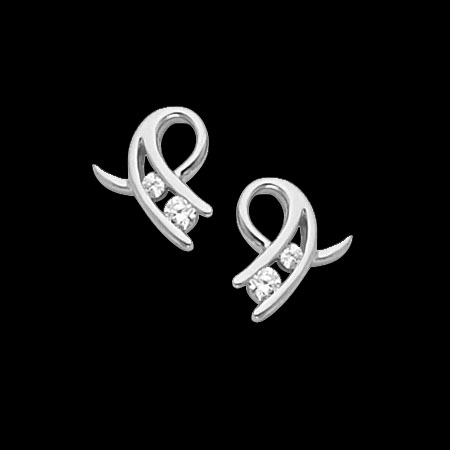 Platinum Curly Diamond Earrings
