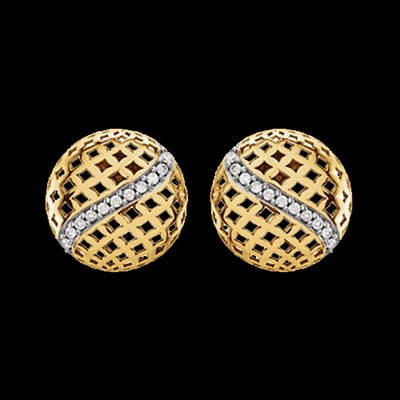 Round Gold Diamond Earrings