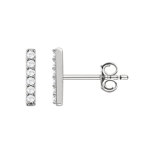 Platinum Diamond Vertical Bar Earrings