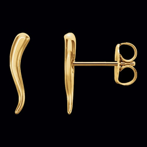 Gold Italian Horn Earrings