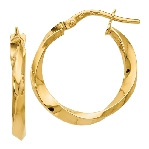14K Polished Twist Hoop Earrings
