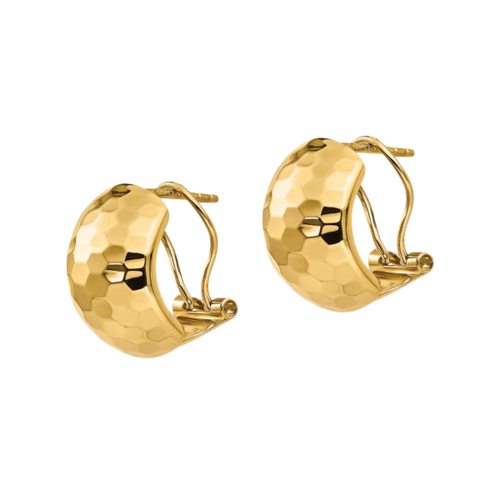 Gold Hammered Omega Back Earrings