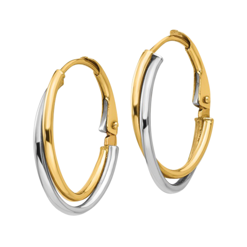 Two-Tone Polished Hoop Earrings