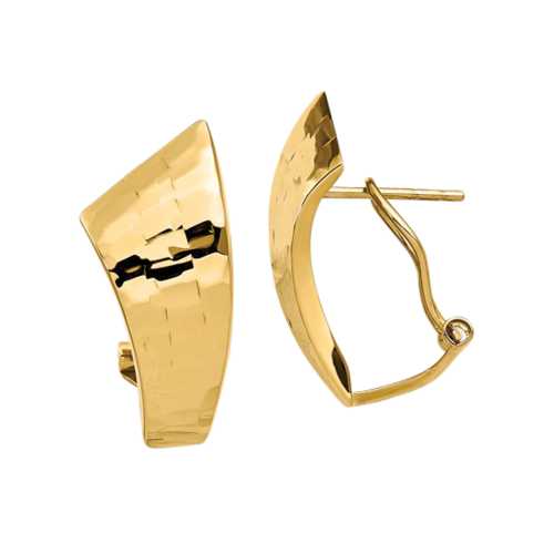 14k Gold Tapered Hammer Earrings