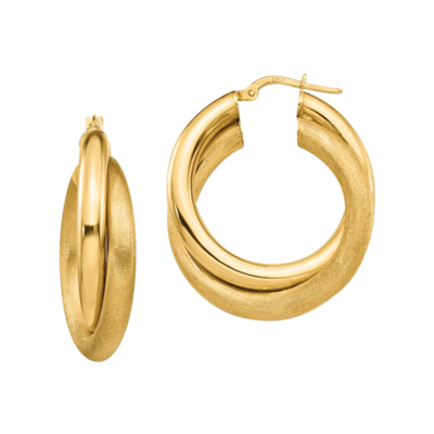 Brushed and Polished Twisted Hoop Earrings