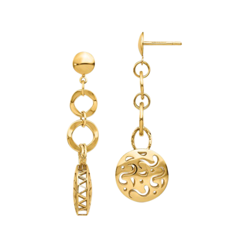 14k Gold Polished Post Dangle Earrings