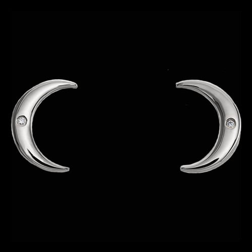 Platinum Diamond Crescent Earrings