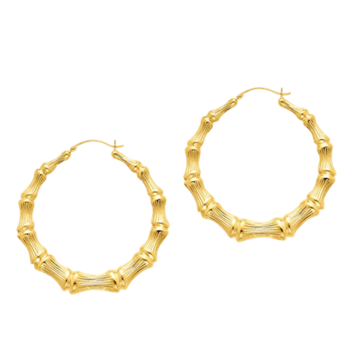 38909597290ea6 Bamboo Hoops. 14k Gold Bamboo Hoop earrings are available in a large  variety of sizes up to a large 54mm, over 2 inches in diameter and approx..  6mm wide.