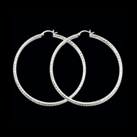 Hoop Earrings Diamond Cut 2mm Hoop Earrings