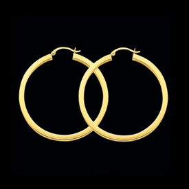 Square Tube 2mm Gold Hoop Earrings