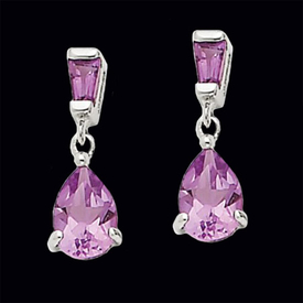 Amethyst Pear Dangle Earrings