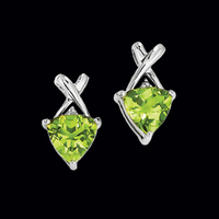 Vibrant Trillion Peridot Earrings