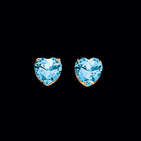 Blue Topaz Heart Stud Earrings