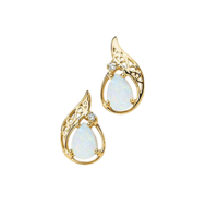 Gemstone Earrings Pear Opal and Diamond Earrings