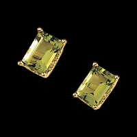 Emerald Cut Peridot Earrings
