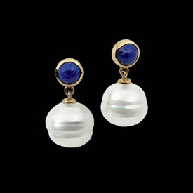 Pearl Earrings Blue Lapis South Sea Pearl Earrings