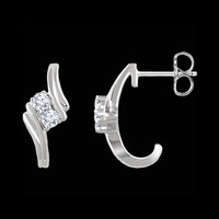 Diamond Two Stone Earrings