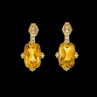 Vibrant Citrine and Diamond Earrings