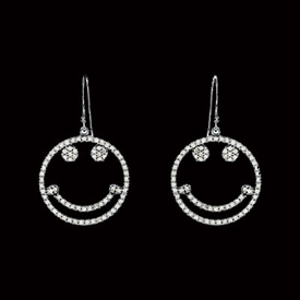 Diamond Smile Face Earrings