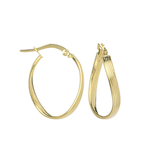 Gold Ribbed Design Hoops