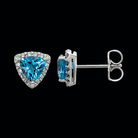 Swiss Blue Topaz Diamond Earrings