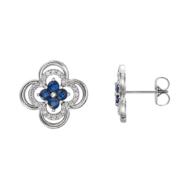 Blue Sapphire Diamond Clover Earrings
