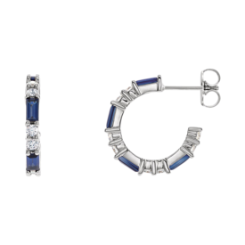 Hoop Earrings Genuine Blue Sapphire and Diamond Earrings