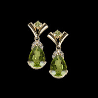 Gemstone Earrings Vibrant Peridot & Diamond Earrings