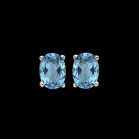 Oval Blue Topaz Earrings
