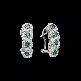 Diamond & Emerald Flower Earrings