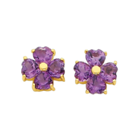 Adorable Amethyst Heart Earrings