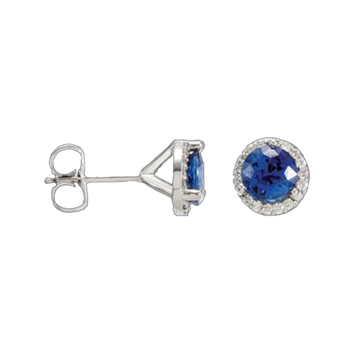 Genuine Sapphire & Diamond Earrings