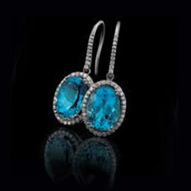 Large Swiss Blue Topaz & Diamond Earrings