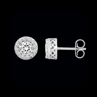 Diamond Halo Style Stud Earrings