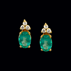 Gemstone Earrings Oval Emerald & Diamond Earrings