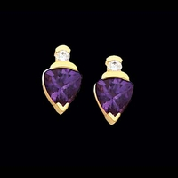 Trillion Amethyst Sapphire Earrings