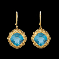 Large Swiss Blue Topaz Earrings
