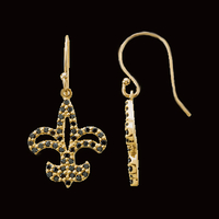 Black Diamond Fleur-De-Lis Earrings