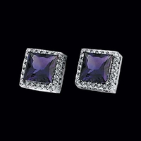 Amethyst and Diamond Square Earrings