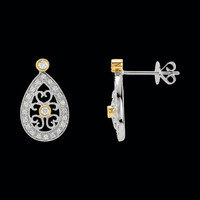 Two Tone Filigree Diamond Earrings