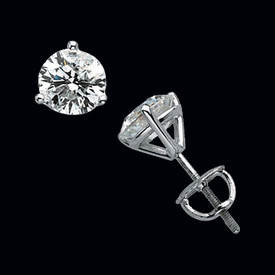 Diamond Martini Style Stud Earrings