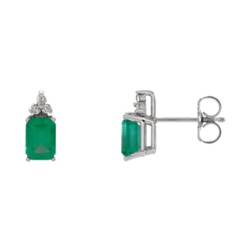 White Gold Emerald & Diamond Earrings