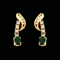 Gemstone Earrings Diamond Emerald Drop Earrings