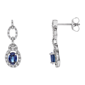 Gemstone Earrings Sapphire & Diamond Dangle Earrings