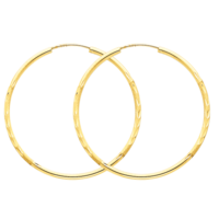 Hoop Earrings 14K Gold Satin 1.5mm Endless Hoops