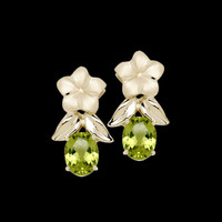 Gemstone Earrings Plumeria and Peridot Earrings