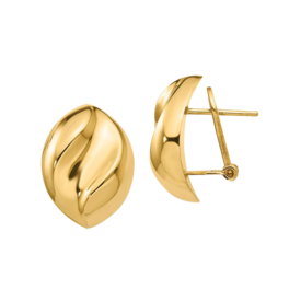 14k Gold Pinched Design Earrings