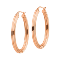14k Gold Grooved Oval Hoop Earrings