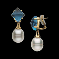 South Sea Pearl & Topaz Earrings