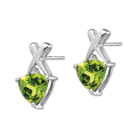 Gemstone Earrings Vibrant Trillion Peridot Earrings